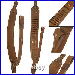1 Set Canvas Leather Recoil Pad Buttstock + Rifle Ammo Sling USA Shipping