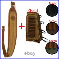 1 Set Leather Canvas Rifle Sling + Matched Gun Ammo Buttstock Shell Holder