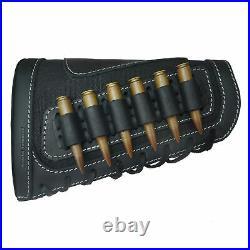 1 Set Leather Rifle Shell Holder Buttstock And Gun Sling For. 30-30.308.357