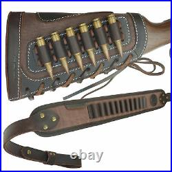 1 Sets Leather Rifle Shell Holder Buttstock with Gun Sling for. 30-30.308.357