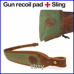 1 Sets Rifle Sling Straps and Matching Gun Recoil Pad Buttstock, Leather Canvas