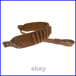 1Set Leather Rifle Gun Buttstock Cartridge Ammo loops Sling Hand Stiched Brown
