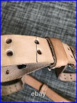 2X M1907 NATURAL LEATHER RIFLE SLING for M1 GARAND, HEAVY MATCH GRADE