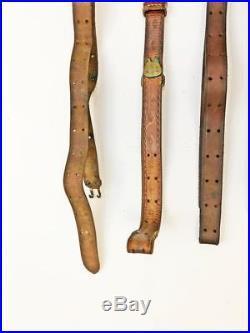 6 Vintage Gun Sling Lot BOYT LEATHER tooled adustable rifle strap swivel holster