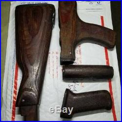 7.62x39 Romanian Wood complete Stock Set With Grip and used leather sling