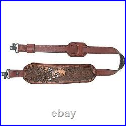 AA&E Leathercraft 8501017S-210 Leather Trophy Padded Deer Embossed Rifle Sling