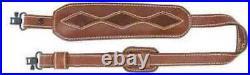 AA&E Leathercraft Brown Leather Trophy Cushion Pad Gunsling with Diamond-8 Patt