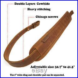 Amish Handmade Grain Cow Hide Leather Rifle Gun Sling 1 Swivels Gun Straps USA
