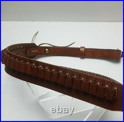 Bianchi #60 Cobra Adjustable Rifle Sling & Ammo Holder Leather with Swivels HTF