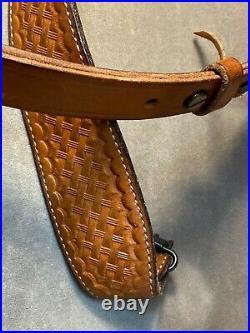 Bianchi Adjustable Cobra 64 Brn Leather Basketweave Rifle Sling Strap With Swivels