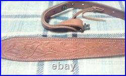 Bianchi Cobra #70 Padded 35 Hand Tooled Leather Rifle Sling with swivels