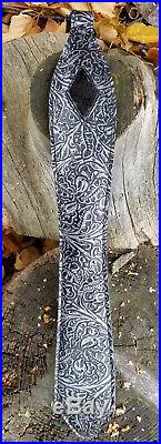 Black Cobra Diamond- Embossed Western pattern with Antique Silver