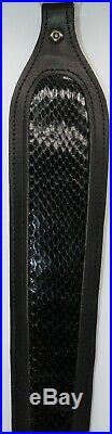 Black Leather and Dyed Cobra Skin Snake Skin Rifle Sling Made in Texas
