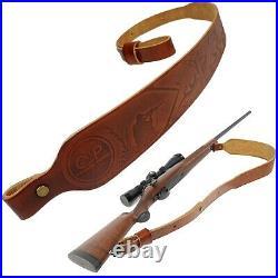 Brown Embossed Leather Rifle Gun Sling with Swivels, Huting Gun Straps UK Local