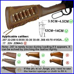 Brown Leather Gun Shell Holder Buttstock and Rifle Sling for. 30-06.30-30.45-70