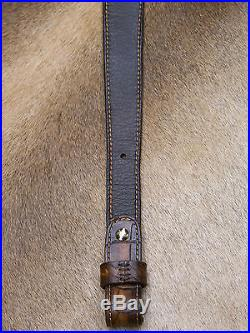 Brown Leather Rifle Sling, Handcrafted in USA, Seelye Leather Works, Economy AA