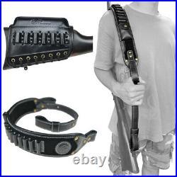 Classic 1 Set Leather Rifle Cheek Riser Pad + Gun Shoulder Sling Fast Shipping