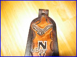 Custom Made Hand-tooled Leather Rifle Sling With Name/ Eagle And Wolf