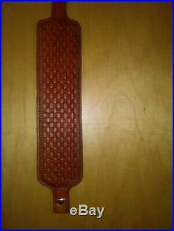 Custom leather gun firearm rifle shotgun sling maker marked hand made USA made