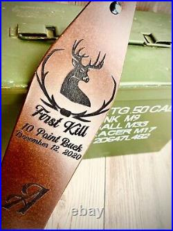 Deer Head Hunter Rifle Sling First Hunt Personalized Leather Rifle Sling Gift