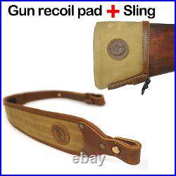 Easy Install canvas &cowhide Leather Recoil Pad Buttstock and Matching Gun Sling