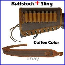 Full Grain Genuine Leather Rifle Sling with Match Gun Buttstock Ammo Holder USA