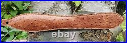 Genuine Leather Embossed Ostrich Rifle Sling Color Walnut