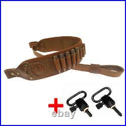 Genuine Leather Rifle Gun Sling Shoulder Strap Ammo Cartridge Shell Holder Strap
