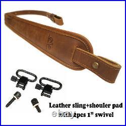 Genuine Leather Rifle Shotgun Strap Gun Sling Hunting Brown Shoulder Shooting
