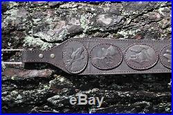 Genuine Leather Rifle / Shotgun sling with 5 pic. Of animals anti slip Neoprene