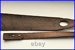 Genuine Leather Rifle Shotgun sling with Wolf / Coyote anti slip suede