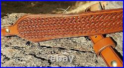 Hand Crafted Leather Rifle Sling, Basket Weave Design