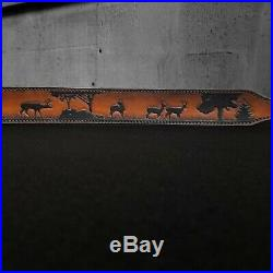 Hand Tooled Leather Rifle Sling Deer Tracking Scene