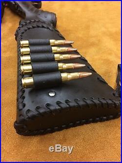 Handmade Leather Gun Stock Cover Shell Holder Sling Hunting Ruger American