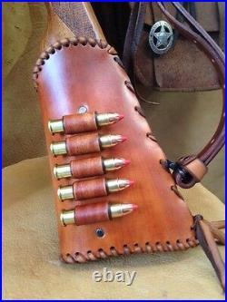 Handmade Leather Gun Stock Cover Shell Holder Sling Thumb Hole Hunting Western