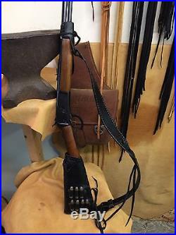 Handmade Leather Gun Stock Cover Shell Holder Thumb Hole Sling No Drill Western