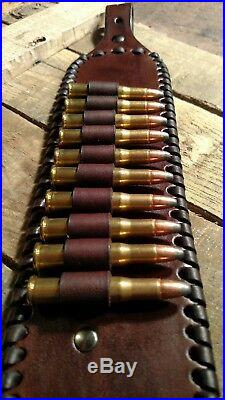 Handmade Leather Rifle Sling Strap with Cartridge Loops Winchester Henry Marlin