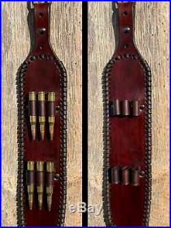 Handmade Leather Rifle Sling Strap with Cartridge Loops for Long Actions