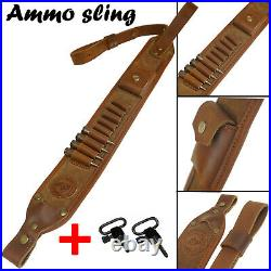 Handmade Rifle Shell Holder Gun Sling Shotgun Leather Buttstock Cartridge Holder