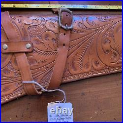 John Wayne HAND TOOLED LEATHER RIFLE WESTERN FLORAL 29 Scabbard Sling Case