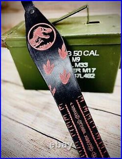 Jurassic Black Leather Rifle Sling- T-Rex Marlin Rifle Custom Rifle Sling