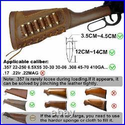 Leather Gun Sling Strap +Gun Buttstock For. 30-06.30-30.45-70.44-40.44 MAG