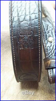 Leather Rifle Sling, Handcrafted in USA, Brown Leather, Padded, Economy AAA