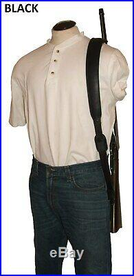 Leather Rifle Sling, Padded Choice of 3 Colors, Swivels Available, USA Made