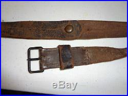Leather Rifle Sling with Black Painted Steel Buckle and Button French