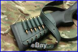 Leather SET Rifle buttstock cartridge holder and Matching Rifle Sling, buttstock