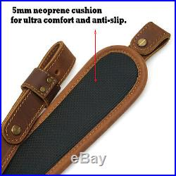 Leather Shotgun Straps with 1 QD Swivels, Double-Layed Leather Rifle Sling New