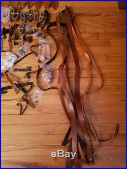 Lot of Leather Rifle Slings, Enfield slings, hardware and leather components