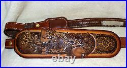 NOS Vintage Buck/Doe Scene Rifle/Shotgun Gun Sling Padded Signed Top Grain #6011