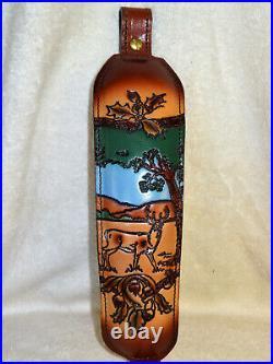 NOS Vintage Deer Tree Scene Rifle/Shotgun Gun Sling Padded Top Grain #1000